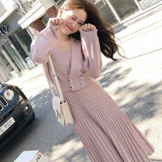 予約 4color ショート丈 カシュクール風ニット + プリーツスカート セットアップ