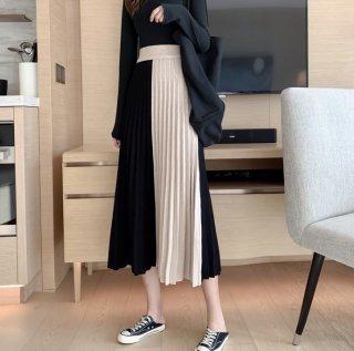 予約 2color バイカラー 配色 ニット プリーツ スカート