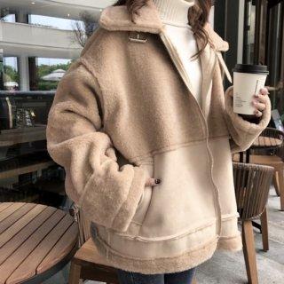 予約 3color ビッグ ボア ベルトデザイン ジャケット