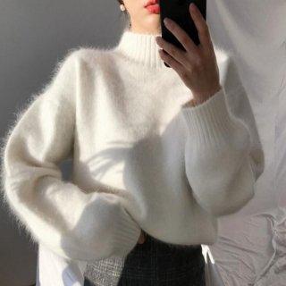 予約 2color  ハイネック 柔らか シャギーニット トップス セーター