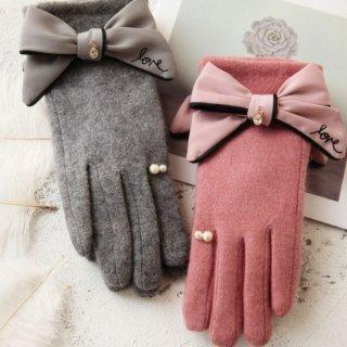 予約 3color 裏起毛 パール デザイン チャーム付リボン 手袋 グローブ