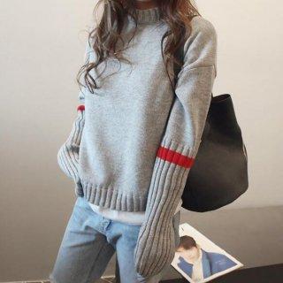 2color モックネック 袖 リブ レッドライン デザイン ニット トップス セーター