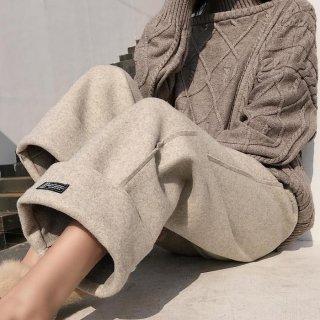 予約 3color ウール調 ストレート ワイド パンツ 裾折り返し