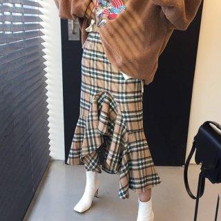 予約 2color 裾フレア チェック柄 ミディ丈 スカート