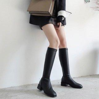 予約 2type ブラック 異素材ブラック ロングブーツ 2.5cmヒール