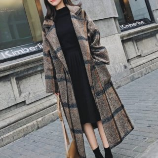 チェックデザイン ガウンコート オーバーサイズ ウエストマーク ロングコート