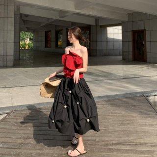 予約 2way パールデザイン バルーン スカート ミニワンピース ベアトップ ボリューム