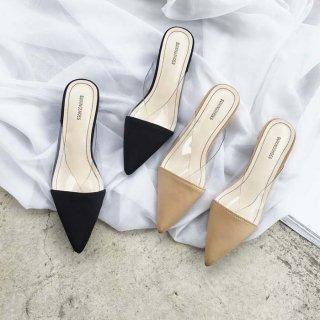 予約 2color ポインテッドトゥ クリア Vカットデザイン ミュール 4.5cm heel チャンキーヒール