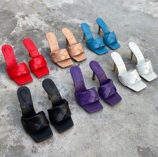 予約 6color イントレチャート スクエアトゥ ミュール サンダル 10cm heel