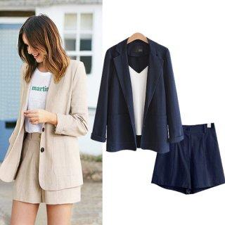 予約 2color 綿麻 シングル ジャケット + ショートパンツ セットアップ スーツ