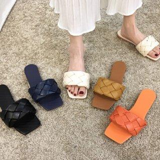予約 7color イントレチャート ワンバンド ミュール ペタンコ 1.5cm heel