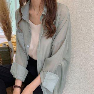 予約 3color シャーベットカラー シアー ロングスリーブ シースルー シャツ