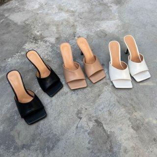 予約 5color スクエアトゥ ワンカラー ミュール 8cm heel
