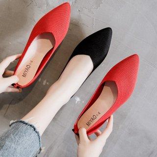 予約 2color Vカット シンプル ペタンコ ポインテッドトゥ フラットシューズ 1cm heel