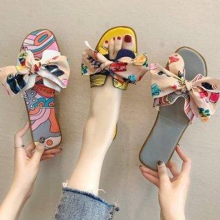 予約 4color スカーフ柄 リボン付 フラットシューズ サンダル ミュール heel 1cm