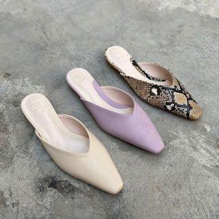 予約 3color Vカットデザインミュール heel 1.5cm