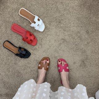 予約 5color Hモチーフ ミュール フラット ぺたんこ サンダル heel 1cm