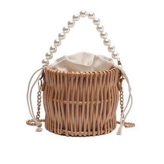 予約 2way ラタン パールハンドル バケツ型 かごバッグ  ショルダーバッグ ハンドバッグ