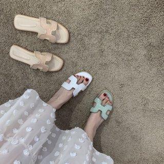 予約 3color H モチーフ スパンコール ミュール  サンダル フラット heel 1.5cm