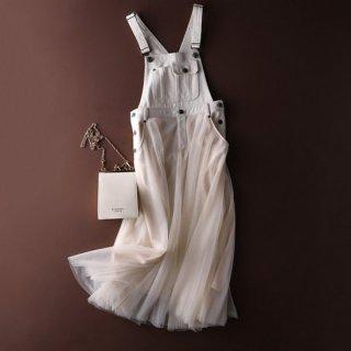 予約 2color チュール ドッキング ジャンパースカート 異素材ミックス