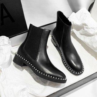 予約 パール ラウンド デザインソール ショートブーツ heel 4cm