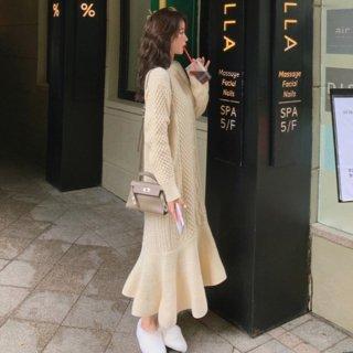 予約2color 裾フレア ニットワンピース ミモレ丈