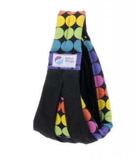 Baba Slings MOT512 Rainbow Dot Black