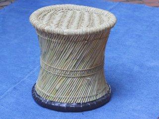 インド  縄編みの丸椅子
