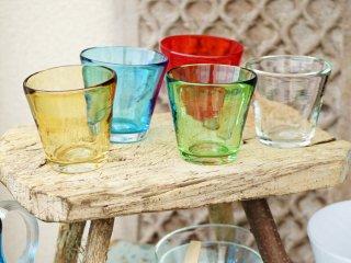 イランの手吹きガラス カラフルグラス
