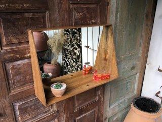 インド 木の鏡棚