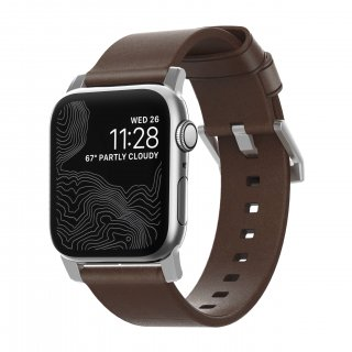 【再入荷・即納可能・Apple Watch Series 1~5 対応】Apple Watch 42/44 mm 用 Horween Leather Modern Strap ブラウン(シルバー金具)