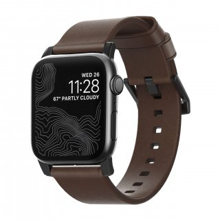 【即納可能・Apple Watch Series 6/SE/5/4/3/2/1対応】NOMAD Horween Leather Modern Strap ブラウン(ブラック金具)42mm/44mm
