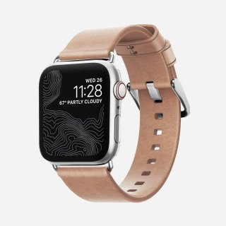 【即納可能・Apple Watch Series 1から5 対応】Apple Watch 38/40 mm 用 Horween Leather Modern Strap ナチュラル(シルバー金具)<img class='new_mark_img2' src='https://img.shop-pro.jp/img/new/icons61.gif' style='border:none;display:inline;margin:0px;padding:0px;width:auto;' />