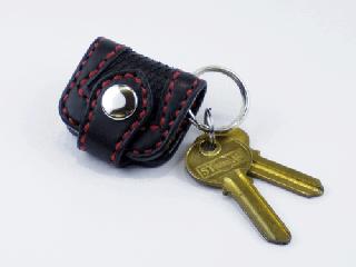 ウォレットキーホルダー インレイパイソン仕様 ブラック(縫い糸レッド)ブラックパイソン