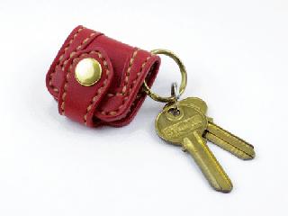 ウォレットキーホルダー オーバーレイ仕様 ダークレッド(縫い糸ナチュラル)真鍮金具