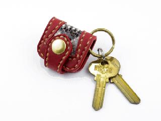 ウォレットキーホルダー インレイパイソン仕様 ダークレッド(縫い糸ナチュラル)真鍮金具