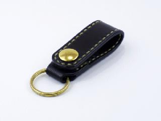キーホルダー ベルトホルダー式 ブラック(縫い糸ナチュラル)真鍮金具