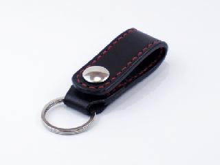 キーホルダー ベルトホルダー式 ブラック(縫い糸レッド)