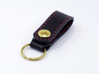 キーホルダー ベルトホルダー式 ブラック(縫い糸レッド)真鍮金具