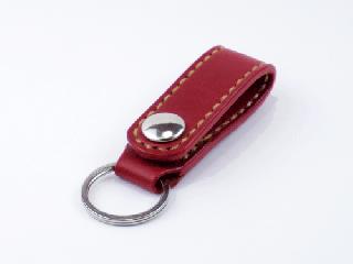 キーホルダー ベルトホルダー式 ダークレッド(縫い糸ナチュラル)