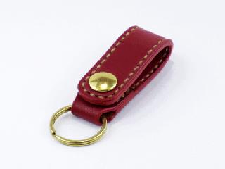 キーホルダー ベルトホルダー式 ダークレッド(縫い糸ナチュラル)真鍮金具