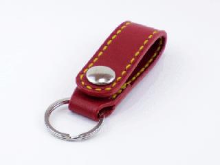 キーホルダー ベルトホルダー式 ダークレッド(縫い糸イエロー)