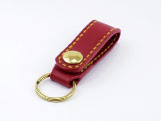 キーホルダー ベルトホルダー式 ダークレッド(縫い糸イエロー)真鍮金具