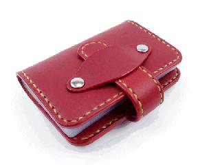 20枚収納カードケース ダークレッド(縫い糸ナチュラル)