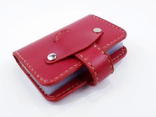 20枚収納カードケース さくらんぼ(縫い糸ナチュラル)