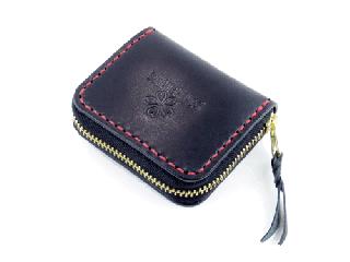 ミニコインパース ブラック(内側ダークレッド)(縫い糸レッド)