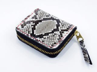 ミニコインパース オールパイソン(内側ブラック)(縫い糸レッド)