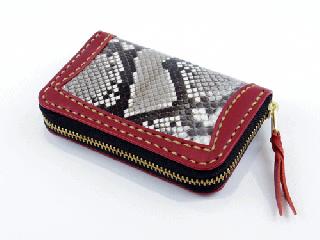 コインパース ダークレッド インレイパイソン(縫い糸ナチュラル)