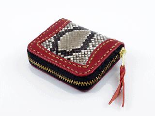 ミニコインパース ダークレッド インレイパイソン(縫い糸ナチュラル)