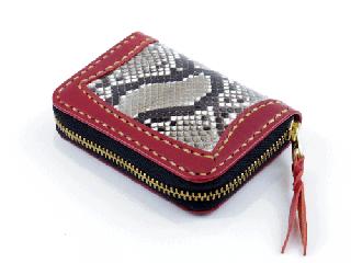 スモールコインパース ダークレッド インレイパイソン(縫い糸ナチュラル)